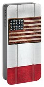 Folk Art American Flag On Wooden Wall Portable Battery Charger by Garry Gay