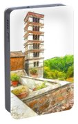Foreshortening With Bell Tower And Wood Portable Battery Charger