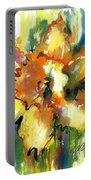 Forest Daffodil In Rain Portable Battery Charger