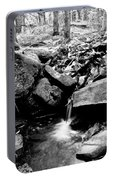 Forest Stream In Black And White Portable Battery Charger