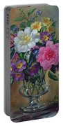 Forget Me Nots And Primulas In Glass Vase Portable Battery Charger