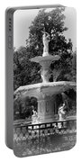 Forsyth Park Fountain Black And White With Vignette Portable Battery Charger