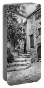 Fountain Courtyard In Eze, France 2, Blk White Portable Battery Charger