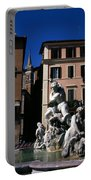 Fountain Depicting Neptune The Piazza Navona The Spire Of The Church Of Santa Maria Della Pace Rome Portable Battery Charger
