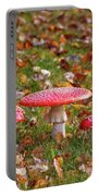 Four Fly Agarics Among Dead Leaves Portable Battery Charger