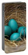Four Robin Eggs In Nest Portable Battery Charger