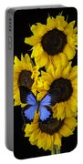 Four Sunflowers And Blue Butterfly Portable Battery Charger