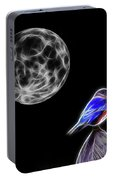 Fractal Moon And Bluebird Portable Battery Charger