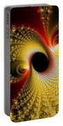 Fractal Spiral Art Yellow Red Metal Effect Portable Battery Charger
