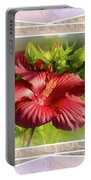 Framed Red Hibiscus Portable Battery Charger