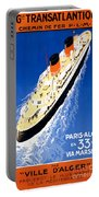 France Cruise Vintage Travel Poster Restored Portable Battery Charger