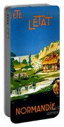 France Normandy Vintage Travel Poster Restored Portable Battery Charger