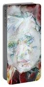 Francis Bacon - Watercolor Portrait.2 Portable Battery Charger
