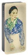 Frauenbildnis Mit Blauem Und Grunem Portable Battery Charger
