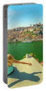 Freedom Woman At Douro River Portable Battery Charger