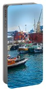 Freighter And Shipping Containers In Port Of Valpaparaiso-chile Portable Battery Charger