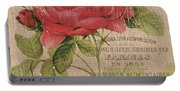 French Burlap Floral 1 Portable Battery Charger