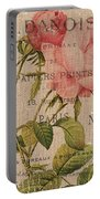 French Burlap Floral 2 Portable Battery Charger