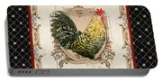 French Country Roosters Quartet Black 3 Portable Battery Charger