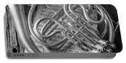 French Horn In Black And White Portable Battery Charger