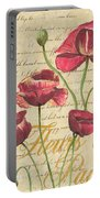 French Pink Poppies Portable Battery Charger