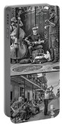 French Quarter Musicians Collage Bw Portable Battery Charger