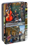 French Quarter Musicians Collage Portable Battery Charger