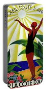 French Riviera, Girl On The Beach, France Portable Battery Charger