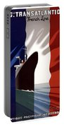 French Shipping Line Poster Portable Battery Charger