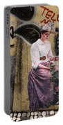 Frescoe Painting Of A Woman In Traditional Dress With Flowers Am Portable Battery Charger