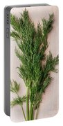 Fresh Green Dill On Wooden Plank Portable Battery Charger