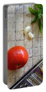 Fresh Italian Cooking Ingredients On Tile Portable Battery Charger