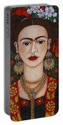 Frida Kahlo With Butterflies Portable Battery Charger