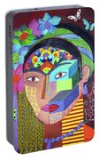 Frida Whit Floers Portable Battery Charger