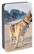 German Shepherd With Man On The Beach Portable Battery Charger