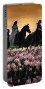 Friesians At Sunset Portable Battery Charger
