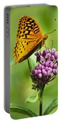 Fritillary Butterfly And Flower Portable Battery Charger