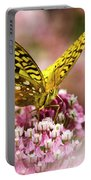 Fritillary Butterfly On Flowers Portable Battery Charger