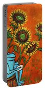 Frog I Padding Amongst Sunflowers Portable Battery Charger