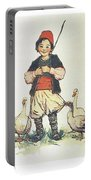 Frolic For Fun Boy And Geese Portable Battery Charger