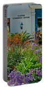 Flowers In Front Of Napier Common Room At Pilgrim Place In Claremont-california Portable Battery Charger