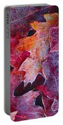 Frosted Red Oak Leaves Portable Battery Charger