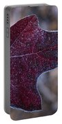 Frosty Maroon Leaf Portable Battery Charger