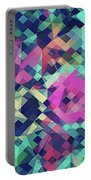 Fruity Rose   Fancy Colorful Abstraction Pattern Design  Green Pink Blue  Portable Battery Charger