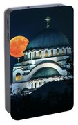 Full Blood Moon Over The Magnificent St. Sava Temple In Belgrade Portable Battery Charger
