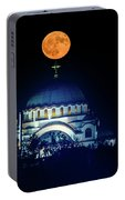 Full Moon Directly Over The Magnificent St. Sava Temple In Belgrade Portable Battery Charger