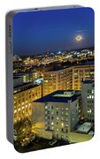 Full Moon Rising Over Portland Downtown Portable Battery Charger