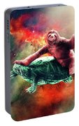 Funny Space Sloth Riding On Turtle Portable Battery Charger