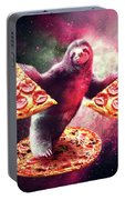 Funny Space Sloth With Pizza Portable Battery Charger