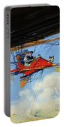 Futuristic Air Travel Vintage Poster Portable Battery Charger